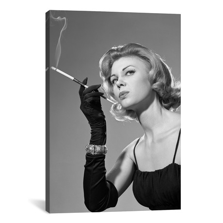 "1960s Sexy Sultry Woman In Black Evening Dress Long Black Gloves Bracelet Smoking Cigarette In Long Cigarette Holder // Vintage Images (12""W x 18""H x 0.75""D)"