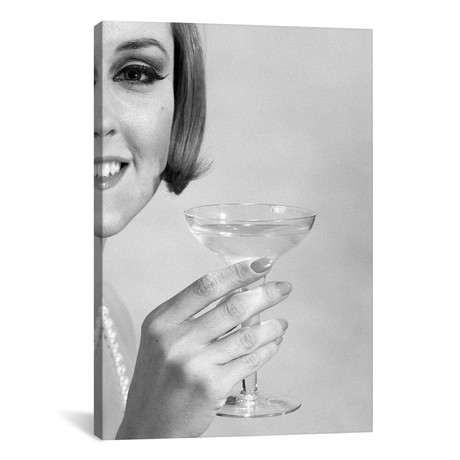 "1960s Smiling Woman Wearing Pearls Offering A Toast Looking At Camera // Vintage Images (12""W x 18""H x 0.75""D)"