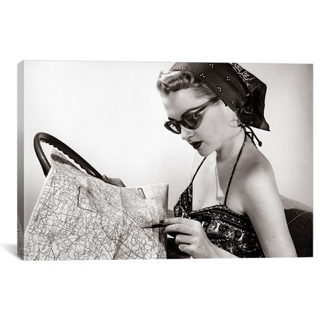 "1950s Woman Wearing Bandana Sunglasses & Halter Top Marking Road Map // Vintage Images (18""W x 12""H x 0.75""D)"