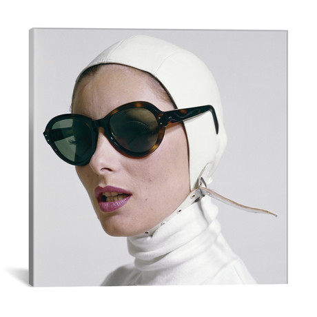 "1970s Portrait Smiling Woman Wearing Designer Fashion White Turtle Neck Leather Aviator Helmet Large Tortoise Shell Sunglasses // Vintage Images (12""W x 12""H x 0.75""D)"