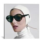 "1970s Portrait Smiling Woman Wearing Designer Fashion White Turtle Neck Leather Aviator Helmet Large Tortoise Shell Sunglasses // Vintage Images (12""W x 12""H x 0.75""D)"