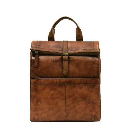 Darius Roll-Top Backpack // Brown