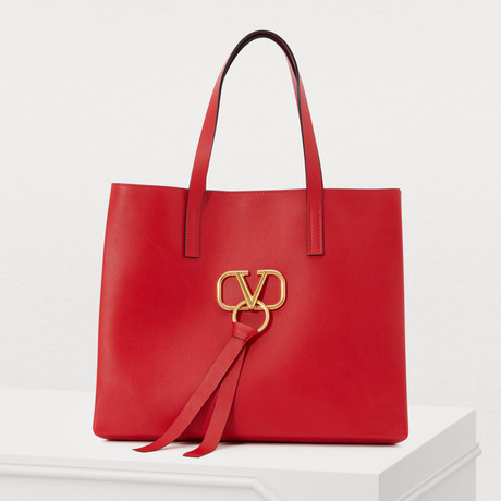 Valentino // Large V-Ring Shopping Tote // Red