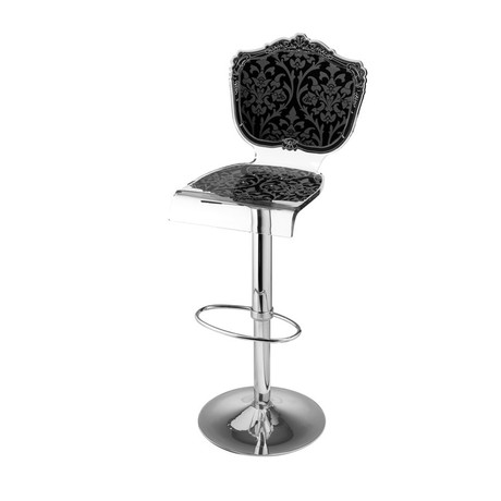Capiton Barstool + Adjustable Pedestal Base // Black