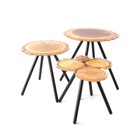 Quebec Side Table Set // Wood Pattern + Metal Legs