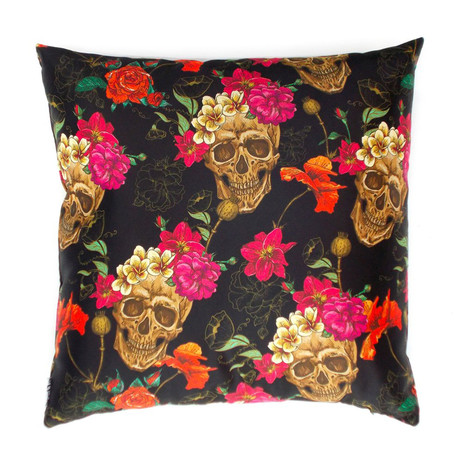 Skulls + Flowers Pillow