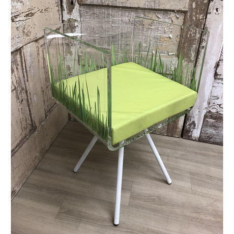 Cali Herbe Chair + Green Cushion + Metal Legs