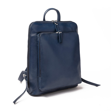 "Tech Leather Backpack 12"" // Blue"