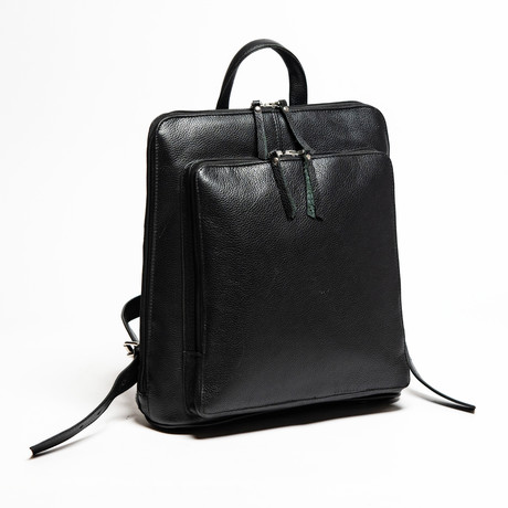 "Tech Leather Backpack 12"" // Black"