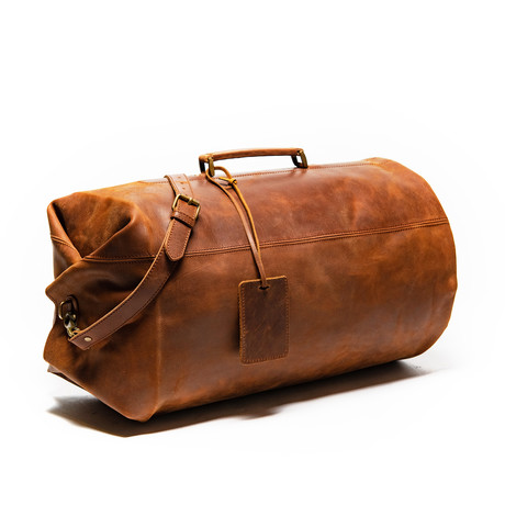 Leather Military Duffle Bag 20″ // Distressed Brown