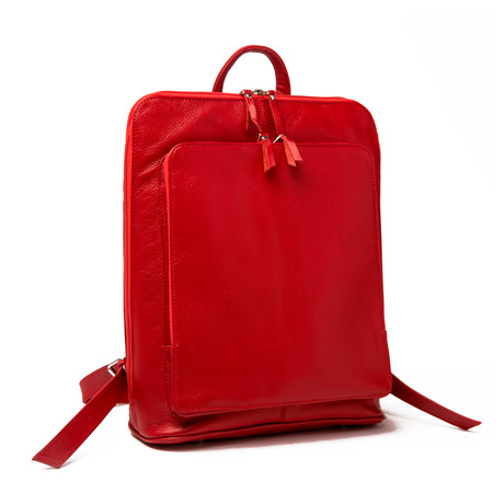 "Tech Leather Backpack 12"" // Red"