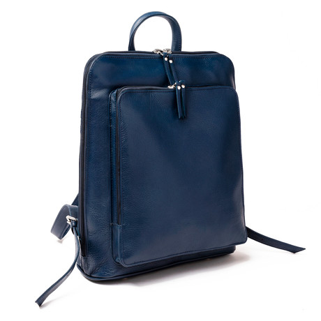 "Tech Leather Backpack 14.5"" // Blue"