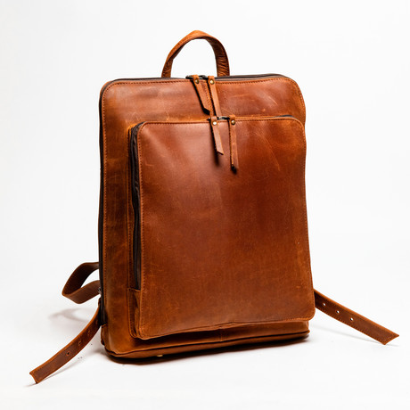 "Tech Leather Backpack 12"" // Distressed Brown"