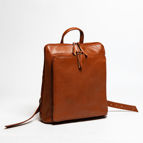 "Tech Leather Backpack 12"" // Pebbled Brown"