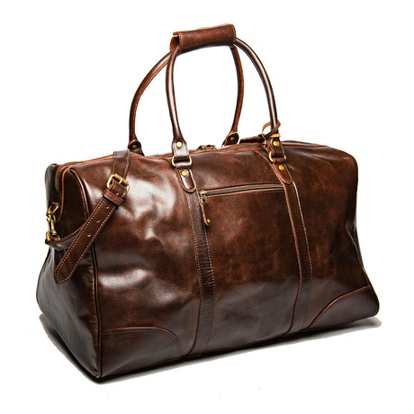 "Tourist Leather Duffel Bag 21"" // Antique Brown"