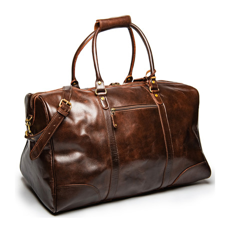 "Tourist Leather Duffel Bag 22.5"" // Antique Brown"