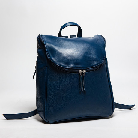 "Student Leather Backpack 14"" // Blue"