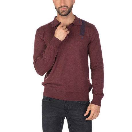 Foster Collar Sweater // Bordeaux (XS)