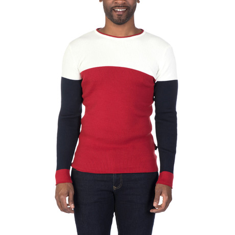 Alex Sweater // Ecru + Bordeaux (XS)