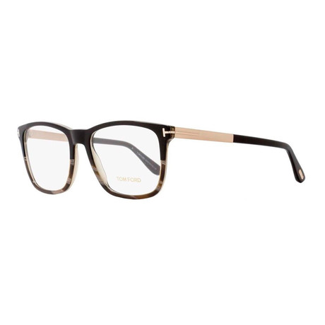 Unisex Rectangular Eyeglasses // Black Horn Gold