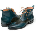 Wingtip Ankle Boots Dual Tone // Green + Blue (Euro: 40)