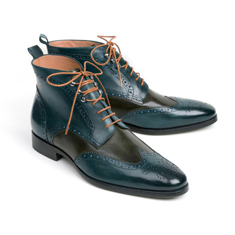 Wingtip Ankle Boots Dual Tone // Green + Blue (Euro: 38)