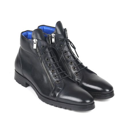 Side Zipper Leather Boots // Black (Euro: 37)