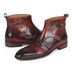 Triple Monkstrap Boots // Brown (Euro: 38)
