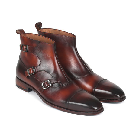 Triple Monkstrap Boots // Brown (Euro: 37)
