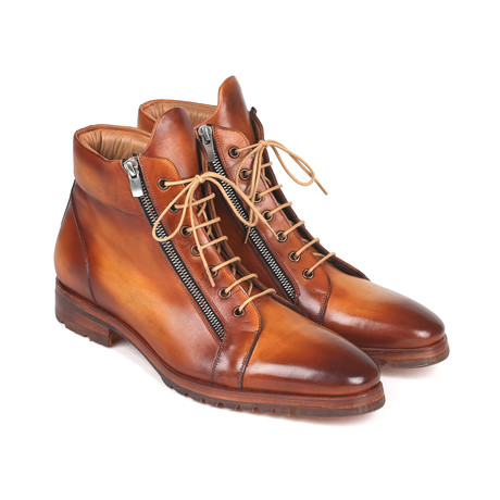 Side Zipper Leather Boots // Light Brown (Euro: 37)