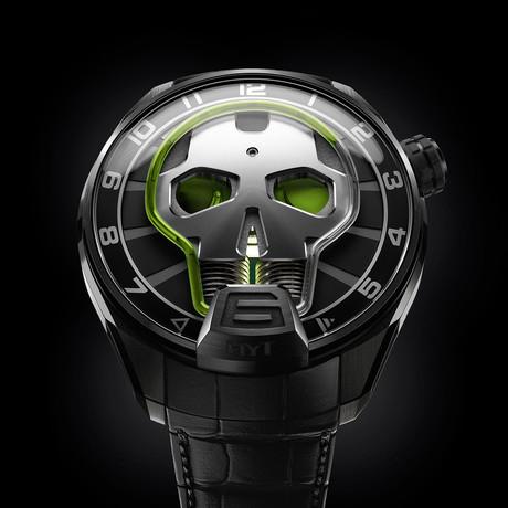 HYT Skull Green Eye Manual Wind // 151-TD-41-GF-AB // New