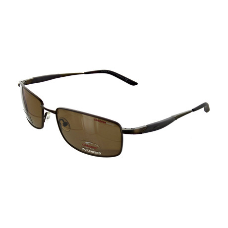 Men's Polarized Rectangular Sunglasses // Shiny Brown
