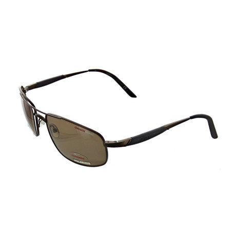 Men's Polarized Rectangular Sunglasses // Brown