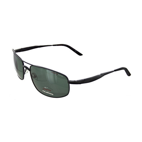 Men's Polarized Rectangular Sunglasses // Black, Green