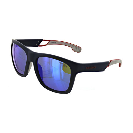 Men's Square Mirror Sunglasses // Matte Blue