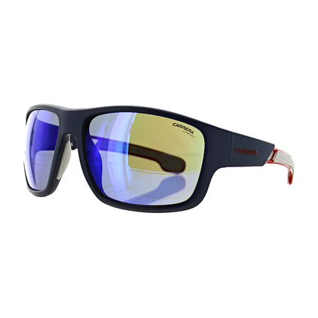 Men's Rectangle Mirror Sunglasses // Matte Blue