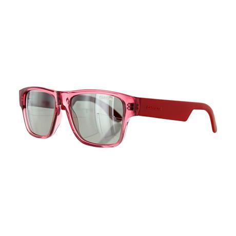 Carrera // Unisex Square Mirror Sunglasses // Transparent Red