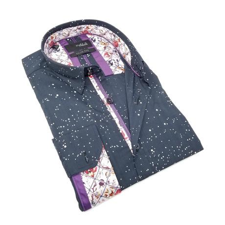 Henry Print Button-Up Shirt // Black (S)