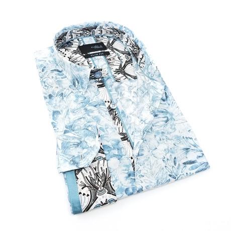 Sidon Print Button-Up Shirt // Teal (S)