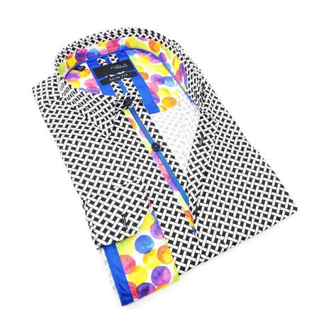 Levin Print Button-Up Shirt // Black (S)