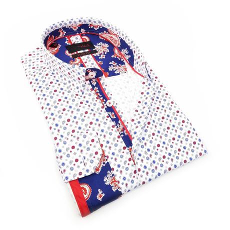 Raji Print Button-Up Shirt // White (S)