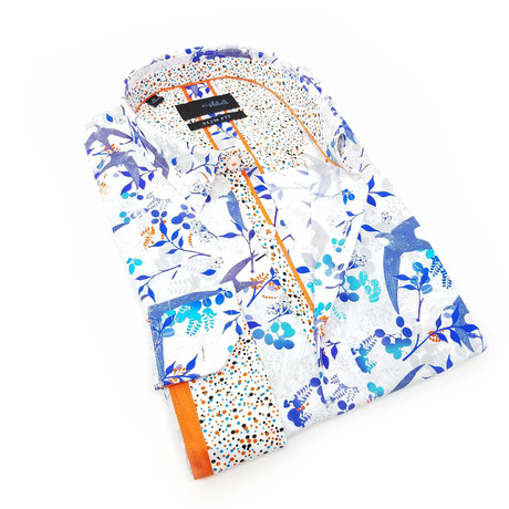 Grace Print Button-Up Shirt // White (S)