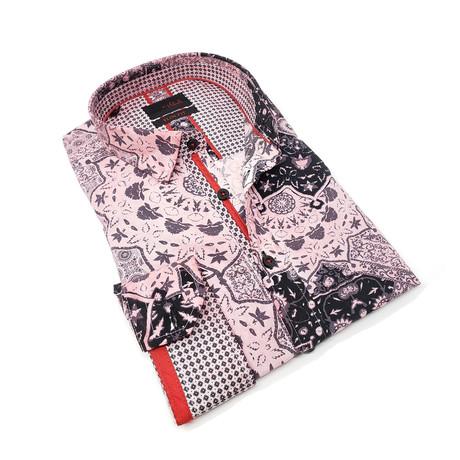Jarrod Print Button-Up Shirt // Pink (S)