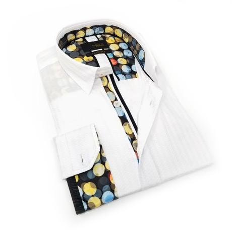 Adam Print Button-Up Shirt // White (S)