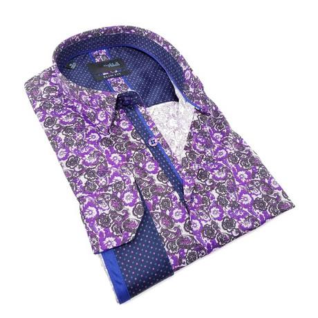 Michael Print Button-Up Shirt // Purple (S)