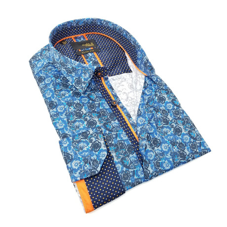 Zachary Print Button-Up Shirt // Navy (S)