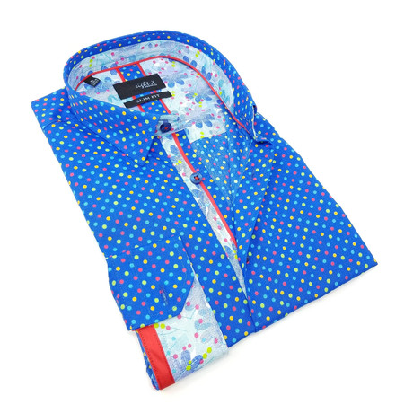 Jeffery Print Button-Up Shirt // Royal Blue (S)