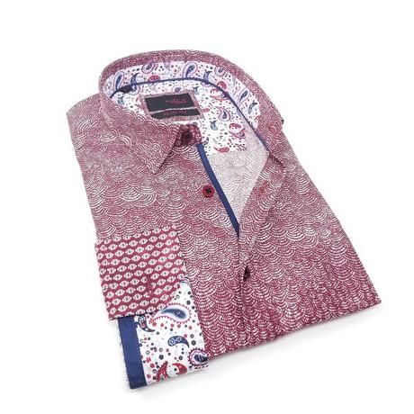 Gavin Print Button-Up Shirt // Bordeaux (S)