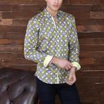 Collin Print Button-Up Shirt // Beige (S)