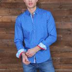 Jeffery Print Button-Up Shirt // Royal Blue (L)